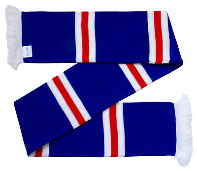Rangers Supporters Royal Blue, Red, and White Retro Bar Scarf - Made in the UK