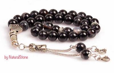 Black Agate Stone Islamic Prayer 33 beads Tasbih - Misbaha - Rosary-Tasbeeh(8mm)