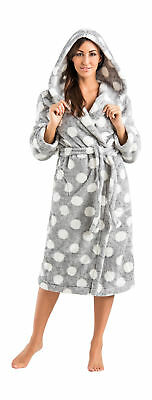 New Hooded Bathrobe Dressing Gown Housecoat for Women Size S M L XL