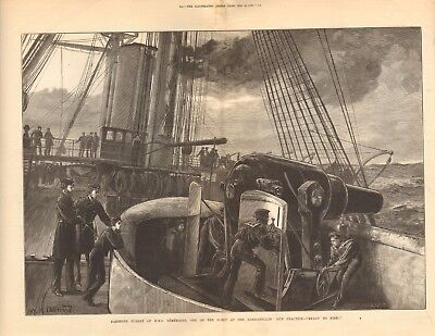 1878 Antique Print -  Barbette Turret Oh Hms Temeraire At The Dardanelles
