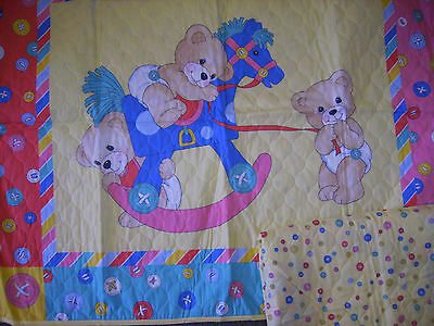 Button bear crib quilt with yellow binding