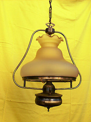 Vintage Opaque White Glass Oil Lamp Chandelier w Neon Light ,Electric Brass