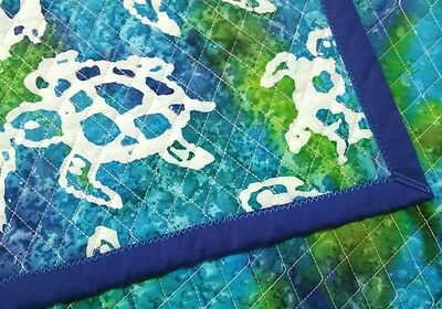 """NEW HOMEMADE """"SEA TURTLES"""", 36x43in COTTON, BOYS BABY/TODDLER  QUILTED BLANKET -"""
