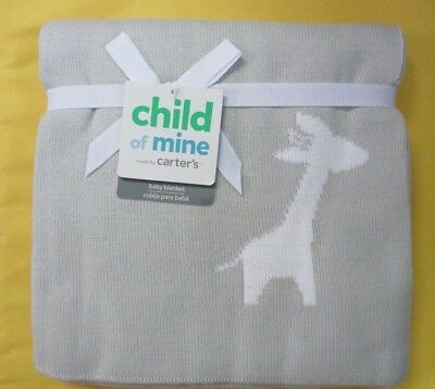 Child of Mine by Carter's Giraffe Gray Sweater Knit Reversible Baby Blanket  NEW