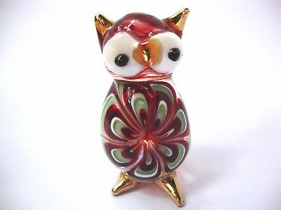 OWL Color Hand Blown Glass Figurine Art With Gold Trim