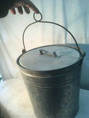 Smaller Vtg Galvanized Garbage Trash Can With Lid