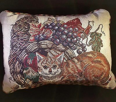 Tapestry Cat Decorative Pillow 17 inches Green Red Tan Cornucopia