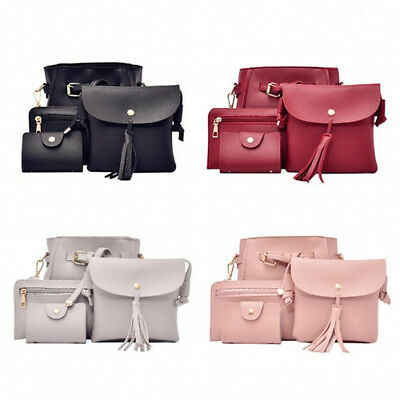 Women Fashion PU Leather Handbag+Shoulder Bag Purse Card Holder 4pcs Set Tote