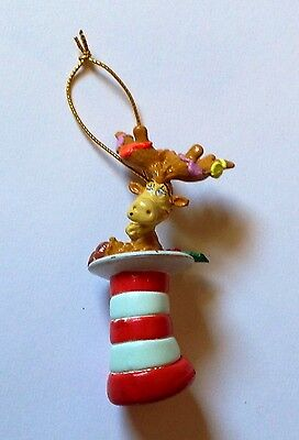 "Dr. Seuss Cat in the Hat Reindeer Dog Ornament Miniature Christmas 2"" 1996"