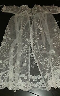Antique lace  babtism dress gown Brussels princess lace NOS handmade