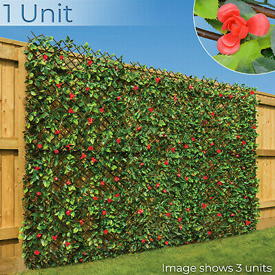 Artificial Hedge Flower Garden Screening Expanding Trellis Privacy Screen 2 x 1m