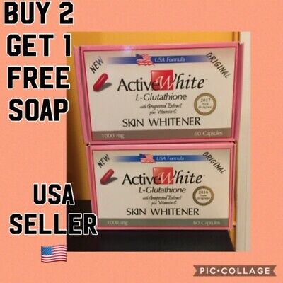 Active White L- Glutathione Skin Whitening with slimming effect pill.BUY 2 GET 1