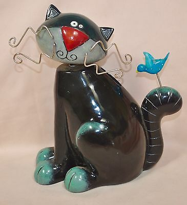 Michelle Allen Whimsical Black Cat with Blue Bird on Tail Ceramic Bank
