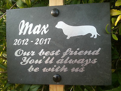 "Deep engraved  Slate Pet Memorial Grave Marker Plaque Dog + oak stake 6"" x 8"""