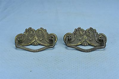Antique SET 2 VICTORIAN PRESSED EMBOSSED BRASS DRAWER HANDLE PULL HARDWARE 03583
