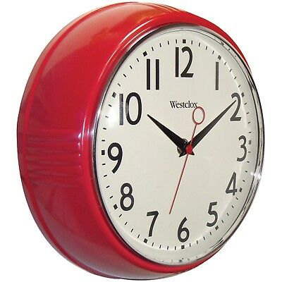Retro Red Wall Clock Vintage Antique Modern Home Style Decoration 1950 Kitchen