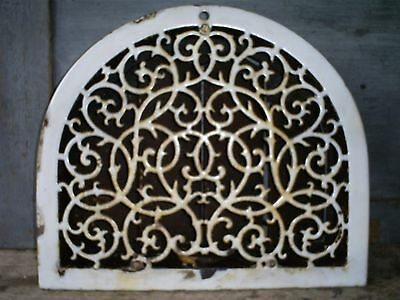 1800s Cast Iron & Porcelain Ornate Arch Top Heat Grate Register Wall Cover