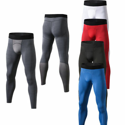 Men's Workout Skin Compression Long Pants Mesh Breathable Running Jogger Tights