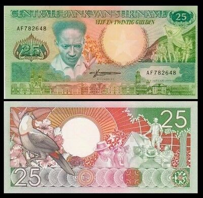 SURINAME 🇸🇷 25 Gulden Banknote, 1988, P-132, UNC World Currency