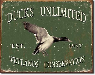 Ducks Unlimited Since 1937 Metal Sign Vtg Retro Hunt Cabin Picture Wall Gift USA