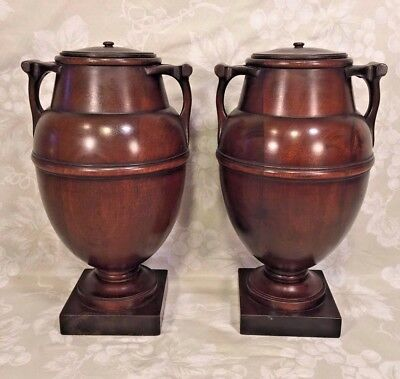 Pair of Antique Mahogany Wood Urns with Lids with Wood Bases Elegantly Detailed