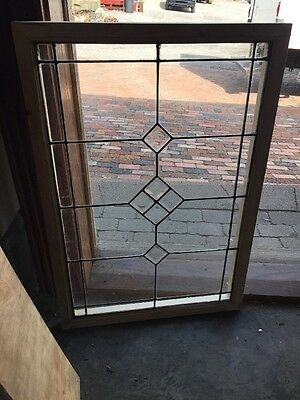 Sg 1509 Antique Leaded And Beveled Glass Window 22.25 X 32.25