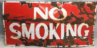 "VTg~VERY OLD~Porcelain Enamel ""NO SMOKING "" Heavy Metal GAS ⛽️ STATION SIGN"