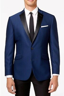 New Mens Kenneth Cole Reaction Two Button Electric Blue Evening Jacket 40 $295