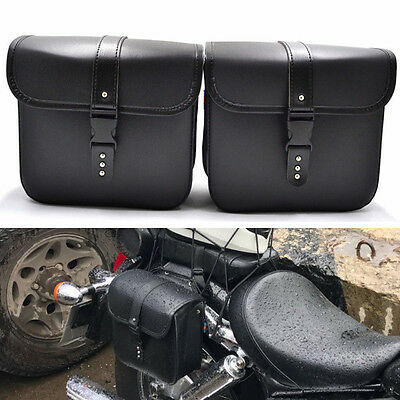 2PCS PU Leather Motorcycle Saddle Bag Storage Tool Pouch Waterproof Convenient