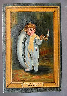 1917 FISK TIRES Time To Re-Tire boy with candle and tire advertising postcard