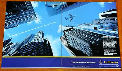 Awesome 2001 Lufthansa Airline French Euro Ad - Jumbo Jetliner Over City