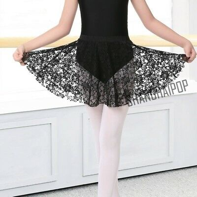 Women Ballet Dance Skirts Short Mini Circular Lace Wrap Pull-on Elasticated Cute