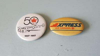 2 x HTF Vintage Air Canada Airline Pinback Badges - Xpress & 50th Anniversary