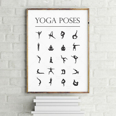 A3/A4 YOGA POSES CHART POSTER * POSTURES Inspiratioal Wall Art Print Gift Ideas