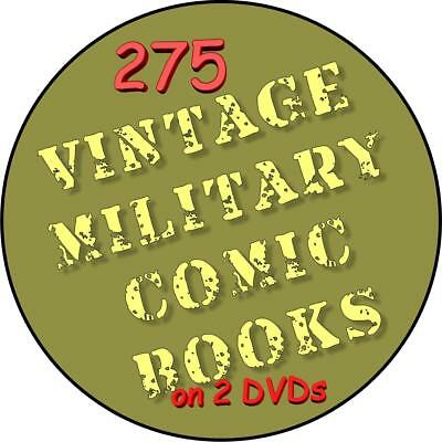 Lot of 275 Vintage Military Comic Books on 2 DVDs, Military Comics, Golden Age