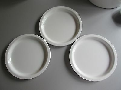 KASEN Set by Peter Pan  3 White Melamine Stackable Lunch or Salad Plates 8""