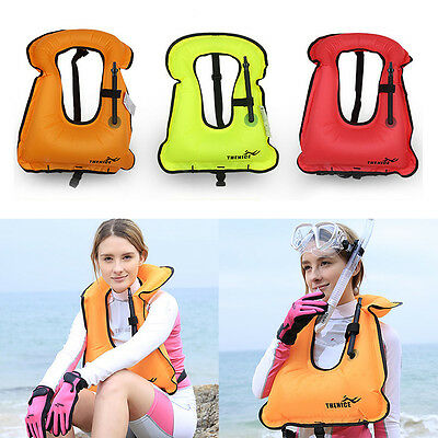 Mens Snorkeling Gear Swimwear Inflatable Adult Life Jackets Vest Swimwear YW