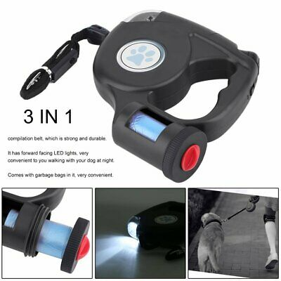 New 16FT Retractable Pet Dog Leash With LED Flash Light Harness Collar S/M/L USA
