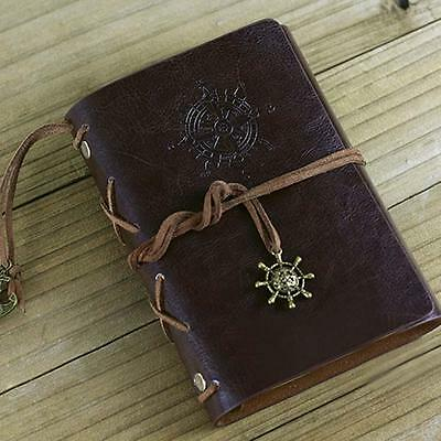 Retro Vintage Leather Bound Blank Page Notebook Note Notepad Journal Diary E QX