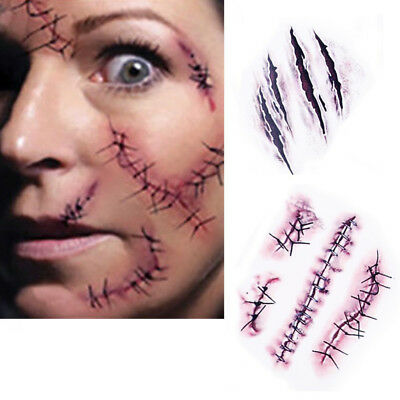 10PCS Halloween Zombie Scars Tattoo With Fake Scab Blood Special Costume Makeup