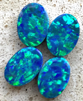 Australian Opal Doublets, Parcel of 4, Stunning greens and blues, 7x5mm