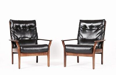 Pair of mid-Century Danish Leather Chairs