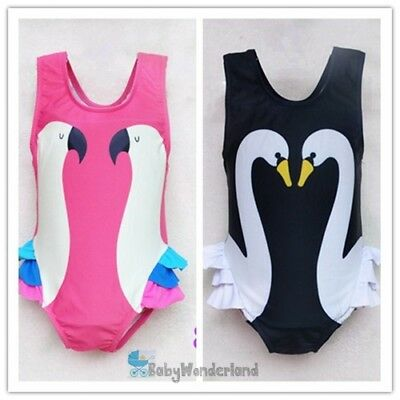 Baby Girl Pink Parrot/Black Swan Swimwear Swimsuit 2 pieces set Size 1-7Years