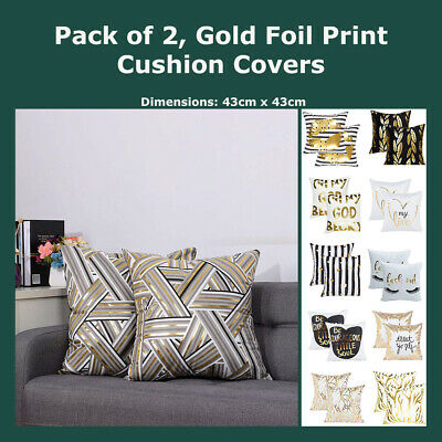 Gold Foil Print Metallic Cushion Cover Geometric Throw Pillow Case Home Decor