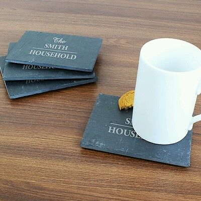 Personalised Slate Drinks Coasters Set of 4 Family Name Christmas New Home Gift