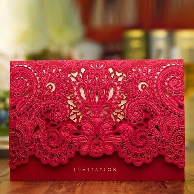 50 X Hollow Wedding Invitation Cards Laser Cut Flower with Envelopes, Seals New