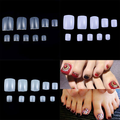 UV Gel Toe Nail Acrylic White Clear Natural Art Tip French False Pack of 500