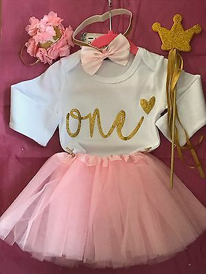 1st Birthday baby girls tutu  Outfit blush pink  Cake Smash Party