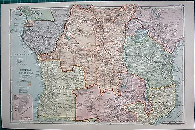 1901 Large Victorian  Map-Central Africa
