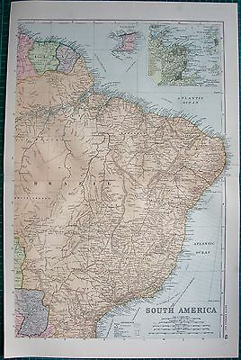 1901 Large Victorian  Map-South America North East, Inset Trinidad,rio